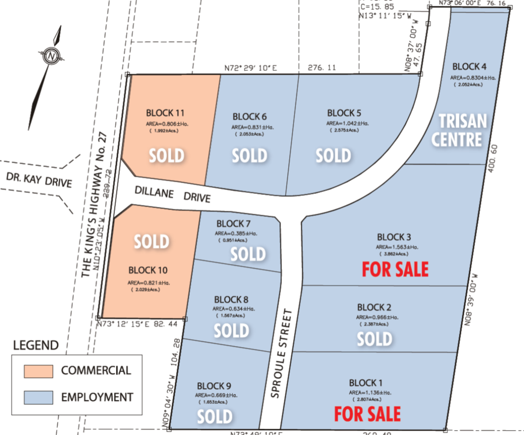 Map of Schomberg Industrial park two lots for sale
