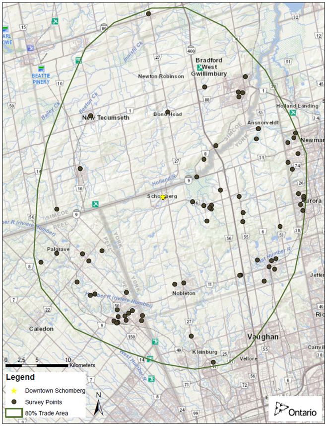 Map of Schomberg's Trade Area